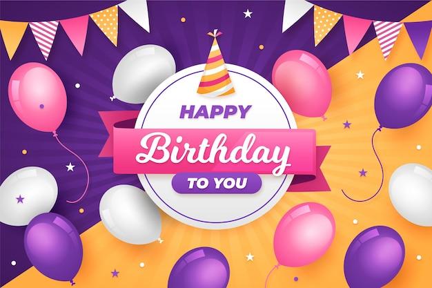 Fundo gradiente de balões de aniversário