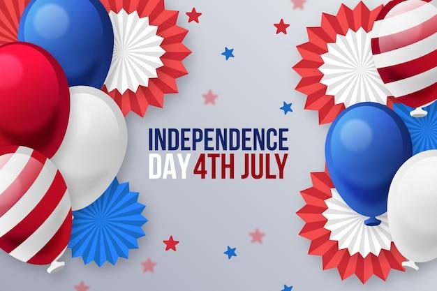 Fundo gradiente de balões do dia da independência de 4 de julho