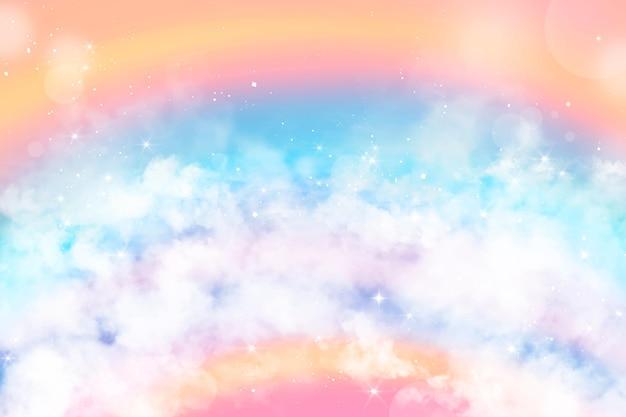 Fundo gradiente de céu pastel com nuvens