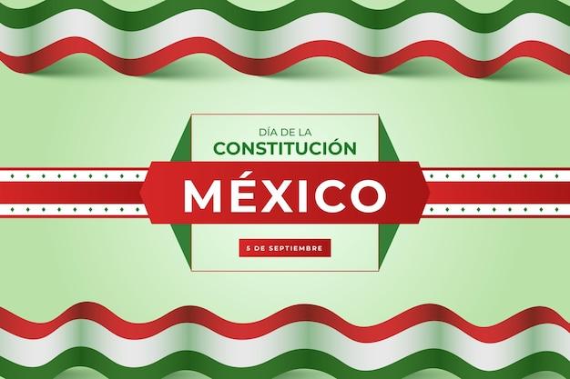 Fundo gradiente de constituição com bandeira mexicana