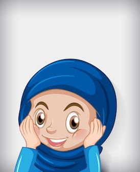 Fundo gradiente de cor de personagem feminina muçulmana de desenho animado