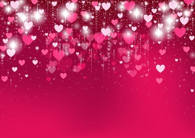Fundo gradiente de coração rosa