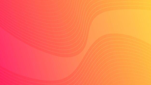 Fundo gradiente de curva de onda colorida moderna. cenário de apresentação abstrato mínimo laranja. ilustração vetorial