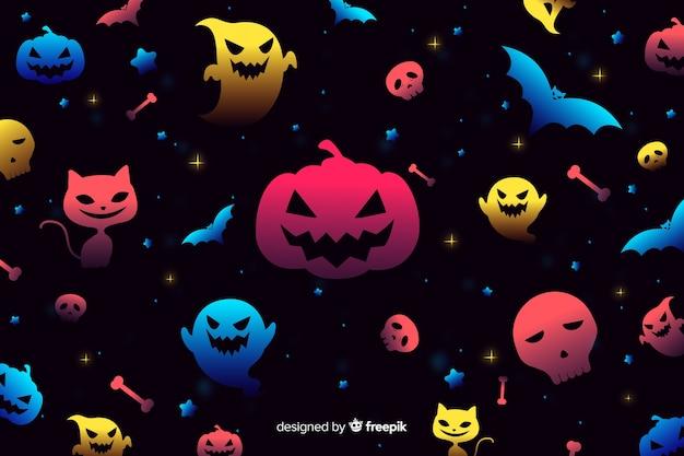 Fundo gradiente de elementos de halloween