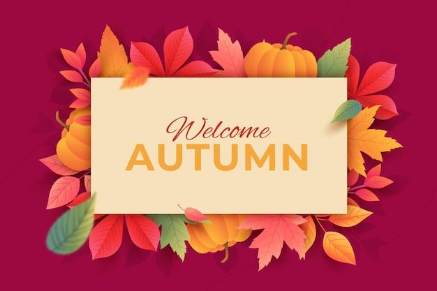 Fundo gradiente de folhas de outono