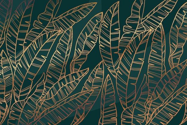 Fundo gradiente de folhas douradas