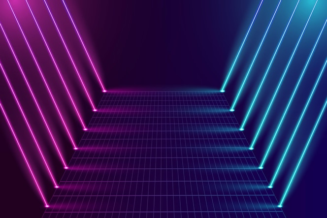 Fundo gradiente de luzes de néon