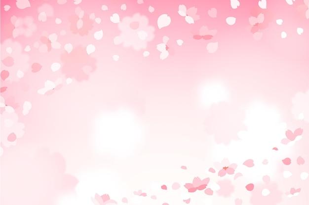 Fundo gradiente de pétalas de sakura fofo
