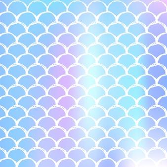 Fundo gradiente de sereia com escalas holográficas. transições de cores brilhantes. bandeira de cauda de peixe e convite. padrão subaquático e mar para festa de menina. cenário iridescente com sereia gradiente.