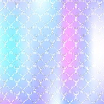 Fundo gradiente de sereia com escalas holográficas. transições de cores brilhantes. bandeira de cauda de peixe e convite. padrão subaquático e mar para festa de menina. pano de fundo colorido com sereia gradiente.