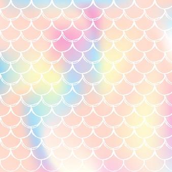 Fundo gradiente de sereia com escalas holográficas.
