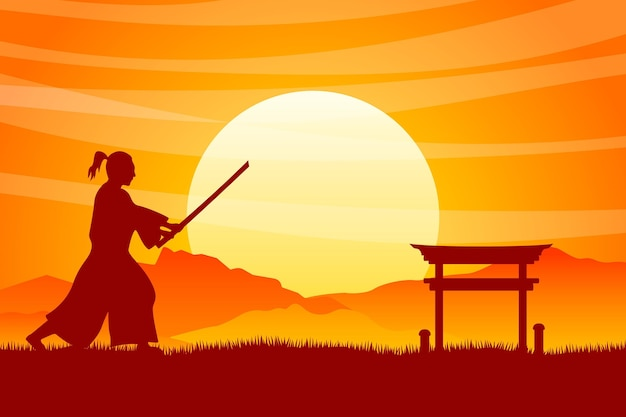 Fundo gradiente de silhueta de samurai