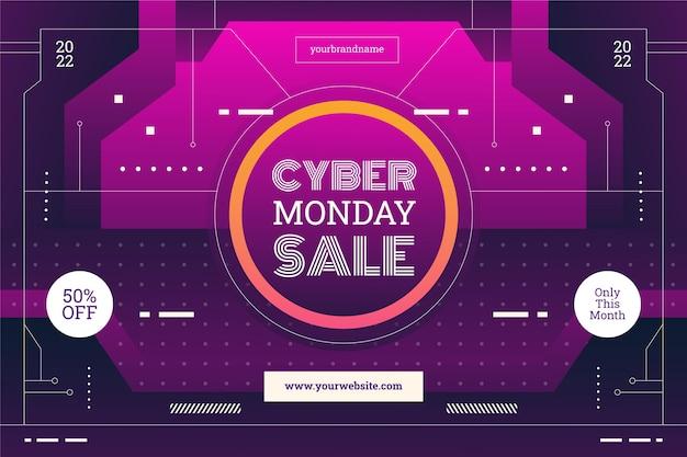 Fundo gradiente de venda de segunda feira cibernética