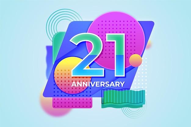 Fundo gradiente de vinte e um aniversário