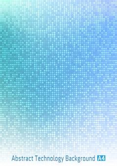 Fundo gradiente digital abstrato azul tecnologia círculo pixel com pixels redondos em tamanho de papel a4.