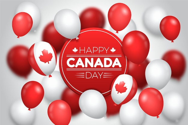 Fundo gradiente dos balões do dia do canadá