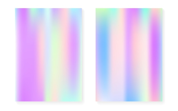 Fundo gradiente holográfico com cobertura de holograma. estilo retro dos anos 90, 80. modelo gráfico perolado para cartaz, apresentação, banner, folheto. gradiente holográfico mínimo do arco-íris.