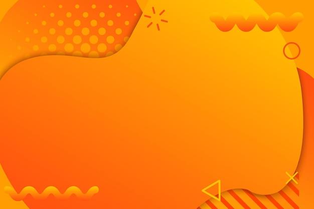Fundo gradiente laranja com elementos memphis