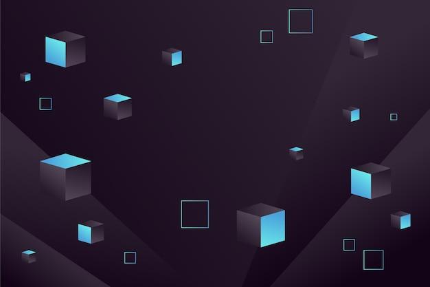 Fundo gradiente preto com cubos