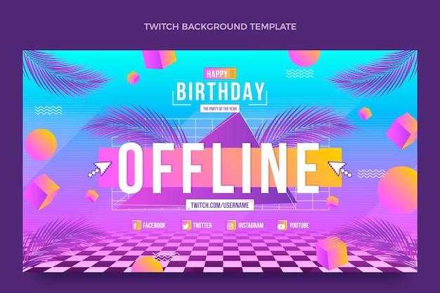 Fundo gradiente retrô vaporwave aniversário twitch