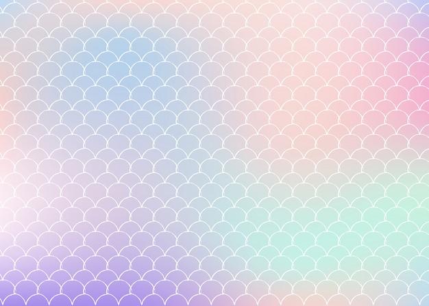 Fundo gradiente sereia com escalas holográficas.