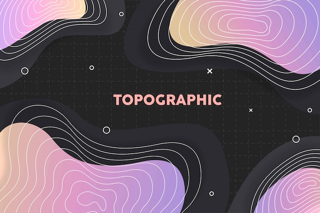 Fundo gradiente topográfico com padrão de memphis