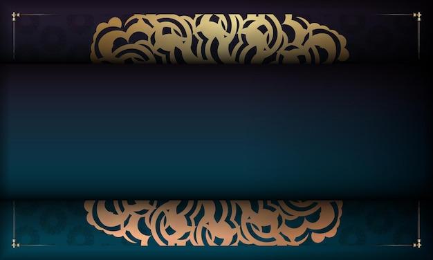 Fundo gradiente verde com padrão de ouro grego e espaço de texto