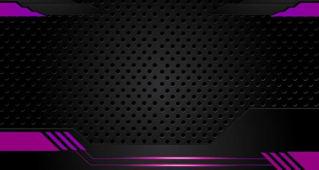 Fundo gráfico abstrato do projeto do folheto roxo e preto.