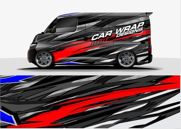 Fundo gráfico da van. conceito de design de linhas modernas abstratas para envoltório de vinil gráfico de carros e veículos Vetor Premium