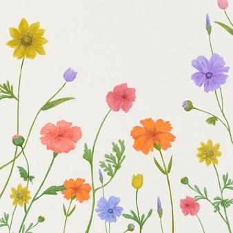 Fundo gráfico floral de verão em cores alegres postagem na mídia social