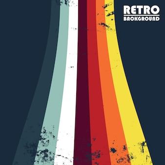 Fundo grunge retrô com listras coloridas
