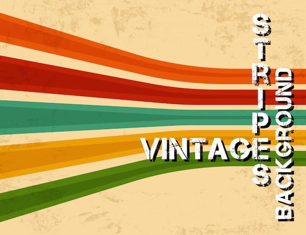 Fundo grunge vintage com listras coloridas Vetor Premium
