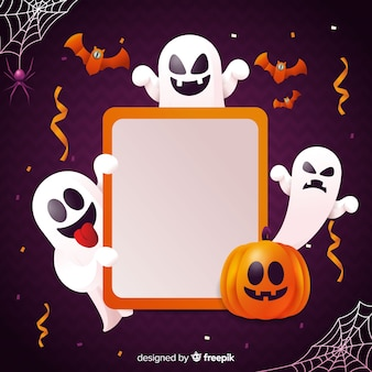 Fundo halloweenn realista com fantasma