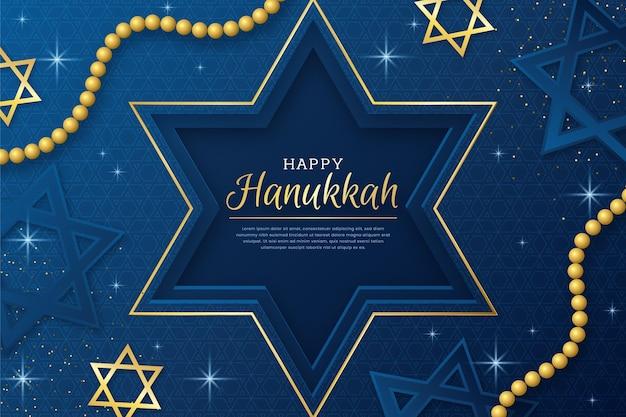 Fundo hanukkah azul e dourado