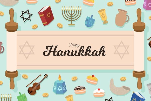 Fundo hanukkah desenhado à mão