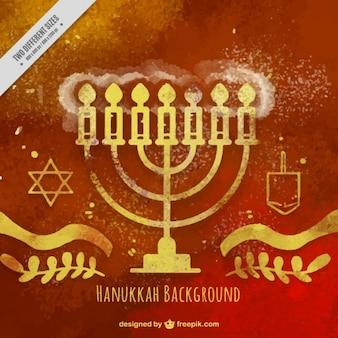 Fundo hanukkah fantástica no estilo da aguarela