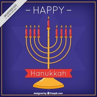 Fundo hanukkah plano com candelabros e estrela