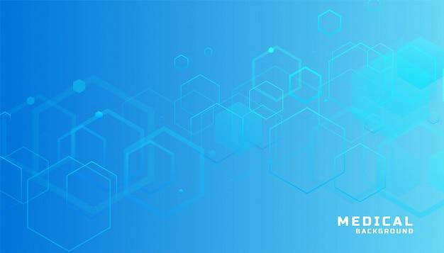 Fundo hexagonal azul de medicina e saúde
