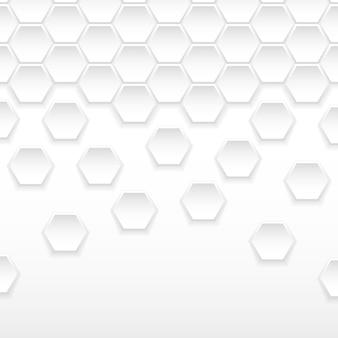 Fundo hexagonal branco e cinza abstrato