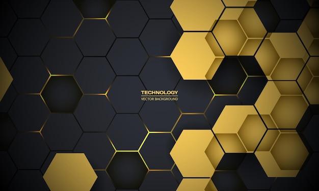 Fundo hexagonal de tecnologia abstrato cinza escuro e amarelo