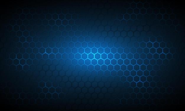 Fundo hexagonal de tecnologia azul escuro