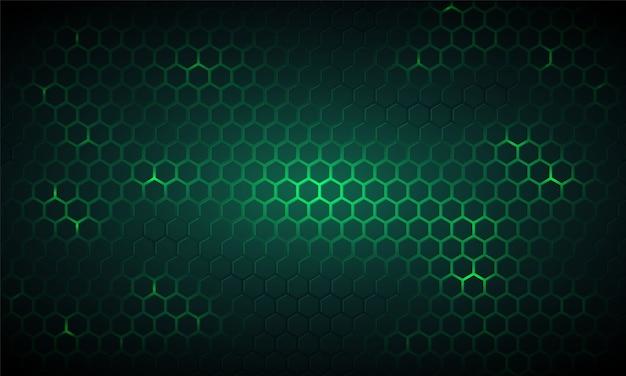 Fundo hexagonal de tecnologia verde escuro.