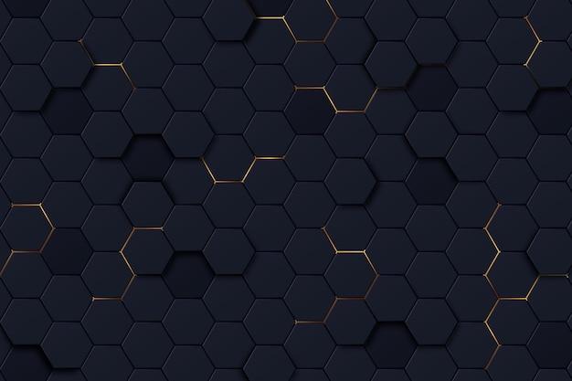 Fundo hexagonal escuro com cor gradiente
