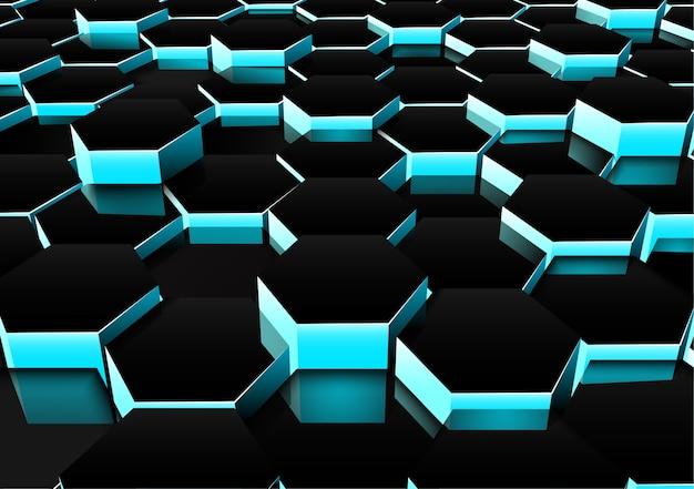 Fundo hexagonal escuro de perspectiva