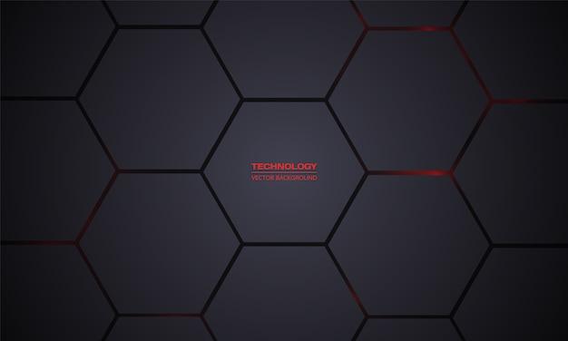 Fundo hexagonal escuro de tecnologia. grade de textura de favo de mel preto.