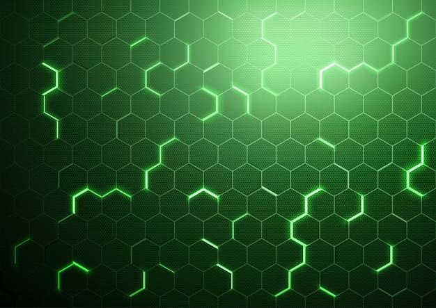 Fundo hexagonal futurista verde abstrato