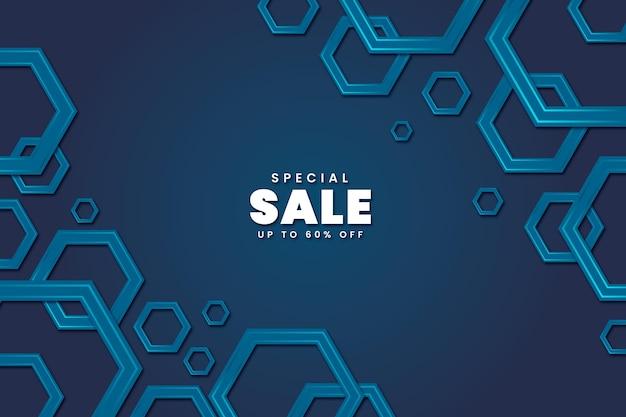 Fundo hexagonal gradiente com venda especial