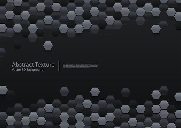 Fundo hexagonal preto abstrato 3d