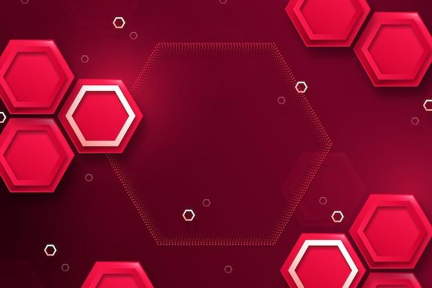 Fundo hexagonal vermelho gradiente