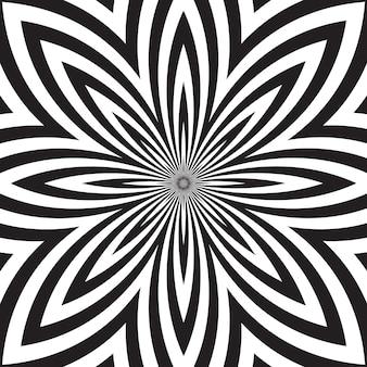 Fundo hipnótico abstrato preto e branco.